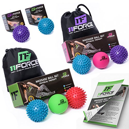 11FORCE Massage Ball Roller Set or Single, Lacrosse & Spiky Balls, Best Physical Therapy Equipment for Plantar Fasciitis, Myofascial Release, Acupressure, Fibromyalgia, Foot Trigger Points,FREE EBOOK (Bowling Ball Stress Ball)