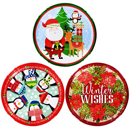 Christmas Trays Set of 3 Large Round Decorative Design Plastic 13.5 Inch Serving Platter ()