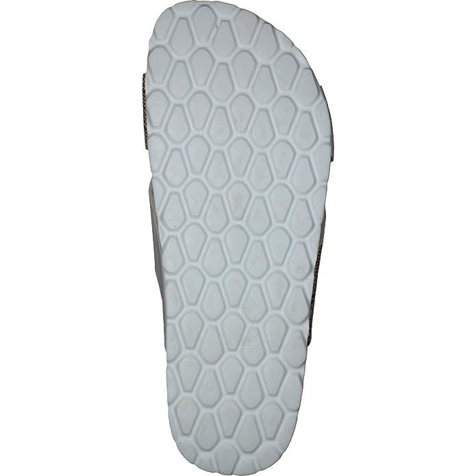 Camprella Damen Tieffußbett Pantoletten Sandalen mit Kreuzbandage Silber//Weiß