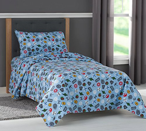 Star Wars Scatter Print Flannel Twin Sheet Set