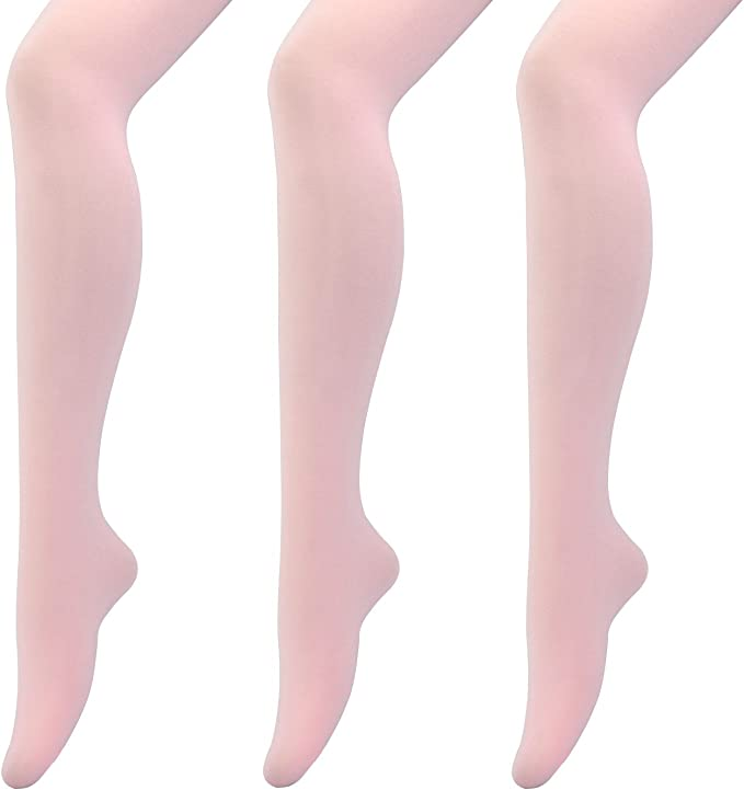 MANZI 3 Pairs Footed Ballet Dance Tights for Girl Women 40 Denier