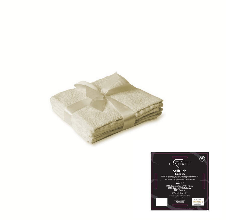 Lot De 4 Essuie Mains En Textile Blanc Naturel 30 X 30 Cm