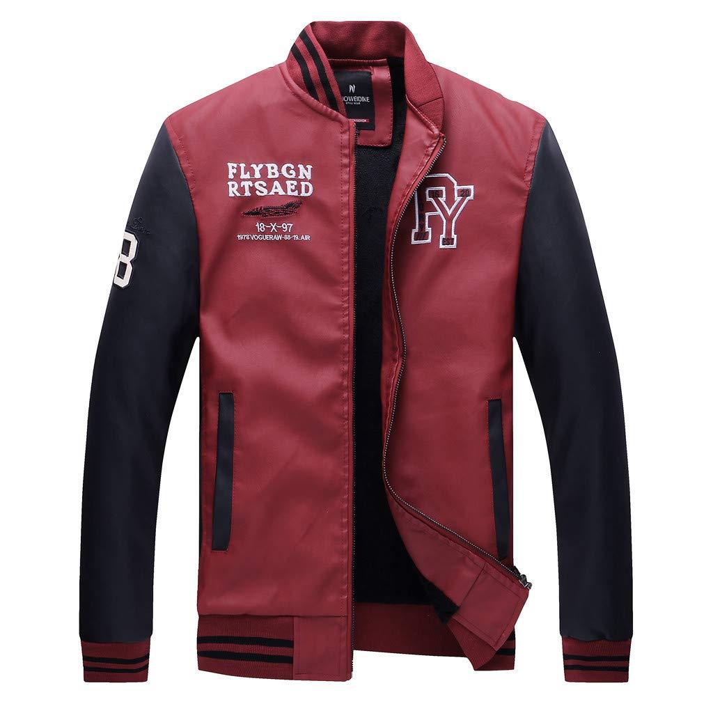YKARITIANNA Men's Autumn Winter Fashion Casual Stand Collar Leather Coat 2019 Summer Red