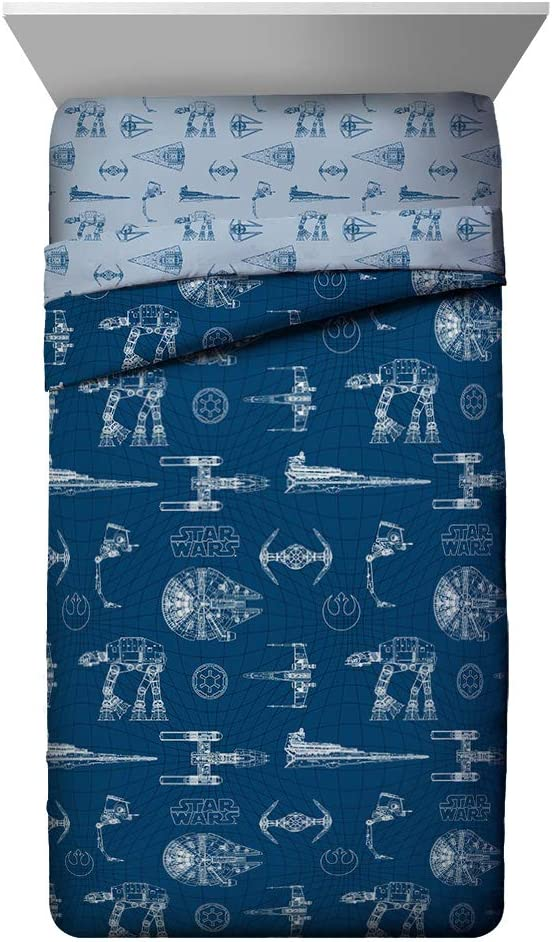 Jay Franco Star Wars Vehicle Schematics Twin Comforter - Super Soft Kids Reversible Bedding Features Millennium Falcon - Fade Resistant Polyester Microfiber Fill (Official Star Wars Product)