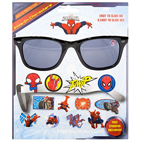 Marvel Spider-Man Kids Children Boys Sunglasses with 100% UV Protection Sunglasses with 3D Slide-on Characters - Kids Spiderman Sunglasses