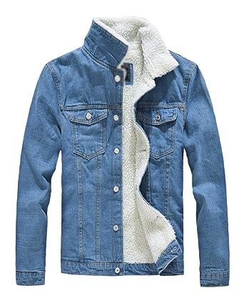 ce5b206a948d3 Kasen Giubbotto Risvolto Uomo Cappotto Caldo Giacca di Jeans Imbottito  Giacché  Amazon.it  Abbigliamento