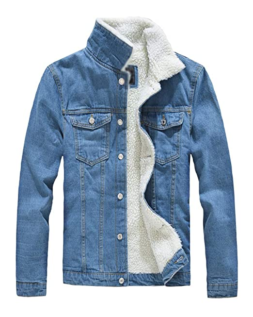 the best attitude c17c5 f92c0 Kasen Giubbotto Risvolto Uomo Cappotto Caldo Giacca di Jeans ...