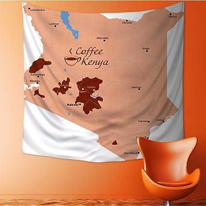 Amazon Com Muyindo Elastic Fabric Tapestry Map Coffee In Kenya Home
