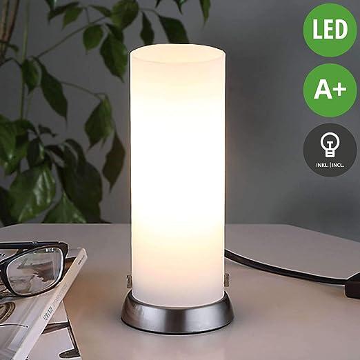 LED Tischleuchte Weiß Tischlampe Modern Zugschalter Tisch Leuchte Schalter NEU