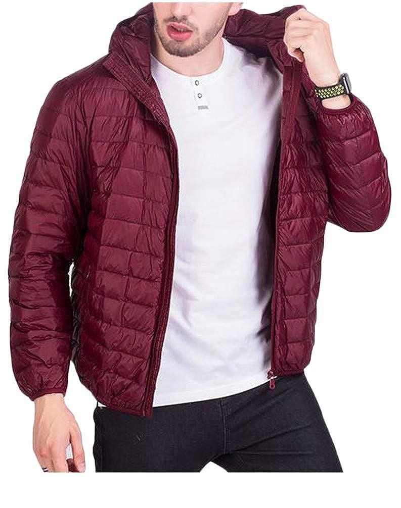Pivaconis Men Quilted Lightweight Zip Hoodid Winter Short Down Outerwear Coats Jacket