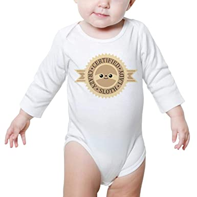 1926bd9fc PoPBelle Certified Crazy Sloth Baby Onesies White Clothes Bodysuits Long  Sleeve Sleepwear Cotton Outdoor