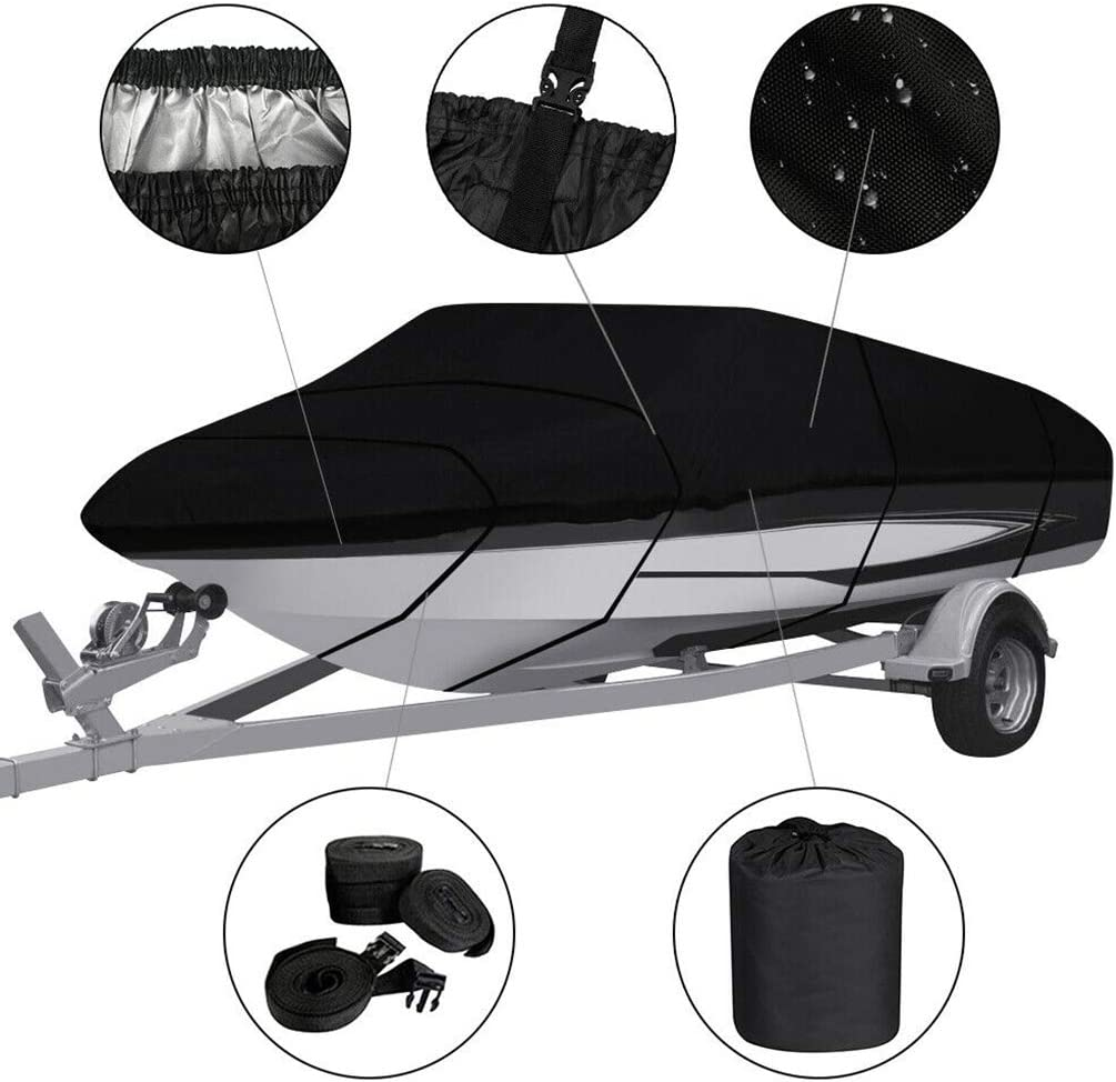 Elenxs Boat Cover Waterproof Trailerable 210D Oxford Cloth V-shaped Boat Protector Anti-UV,11-13ft