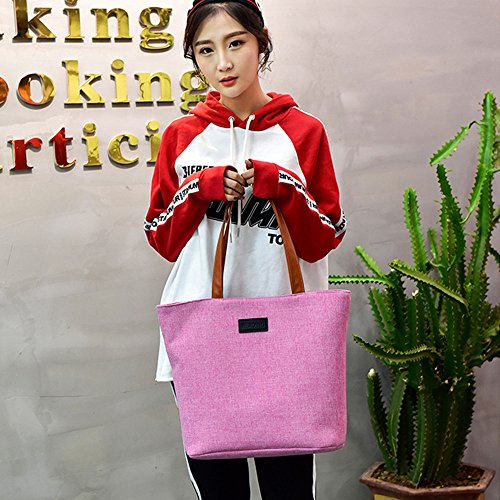 Large Packet Single Totes Women Canvas Solid Shopping Shoulder Purses Casual Travel Zipper Red Bags Capacity z8W8Ufq