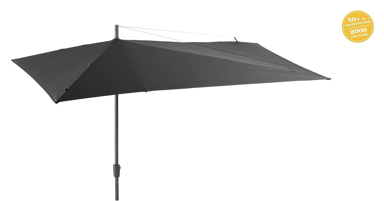 GRASEKAMP Qualität seit 1972 Sonnenschirm Asymmetrisch Balkon-Schirm 360x220cm Grau Terrasse Partyschirm