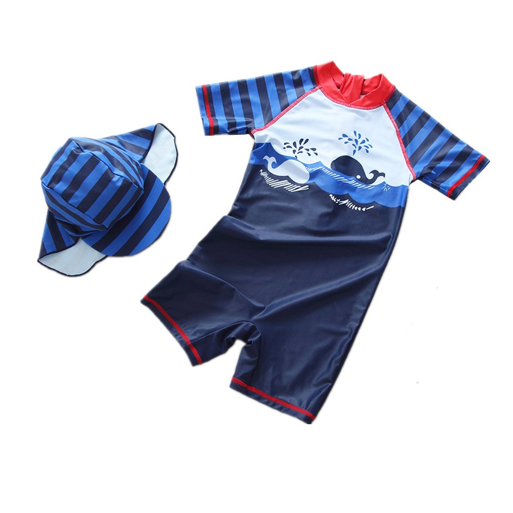 Toddler Baby Swimsuit Boys One Piece Rash Guard Sun Protection Kid Boy Swimwear with Hat 0-5t