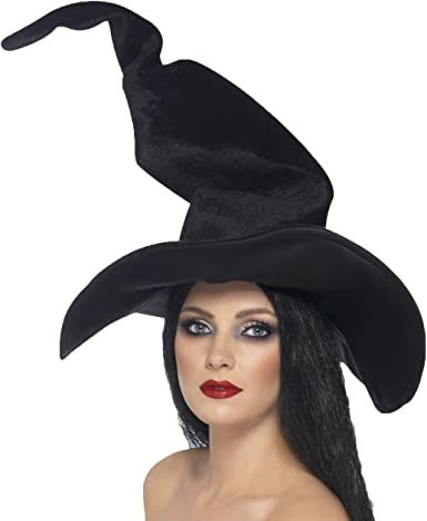 Adults Black Deluxe Witches Hat Halloween Fancy Dress Accessory