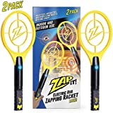 ZAP IT! Bug Zapper Twin Pack - Rechargeable Mosquito, Fly Killer and Bug Zapper Racket - 4,000 Volt - USB Charging, Super-Bright LED Light to Zap in The Dark - Safe to Touch … (Twin Mini)
