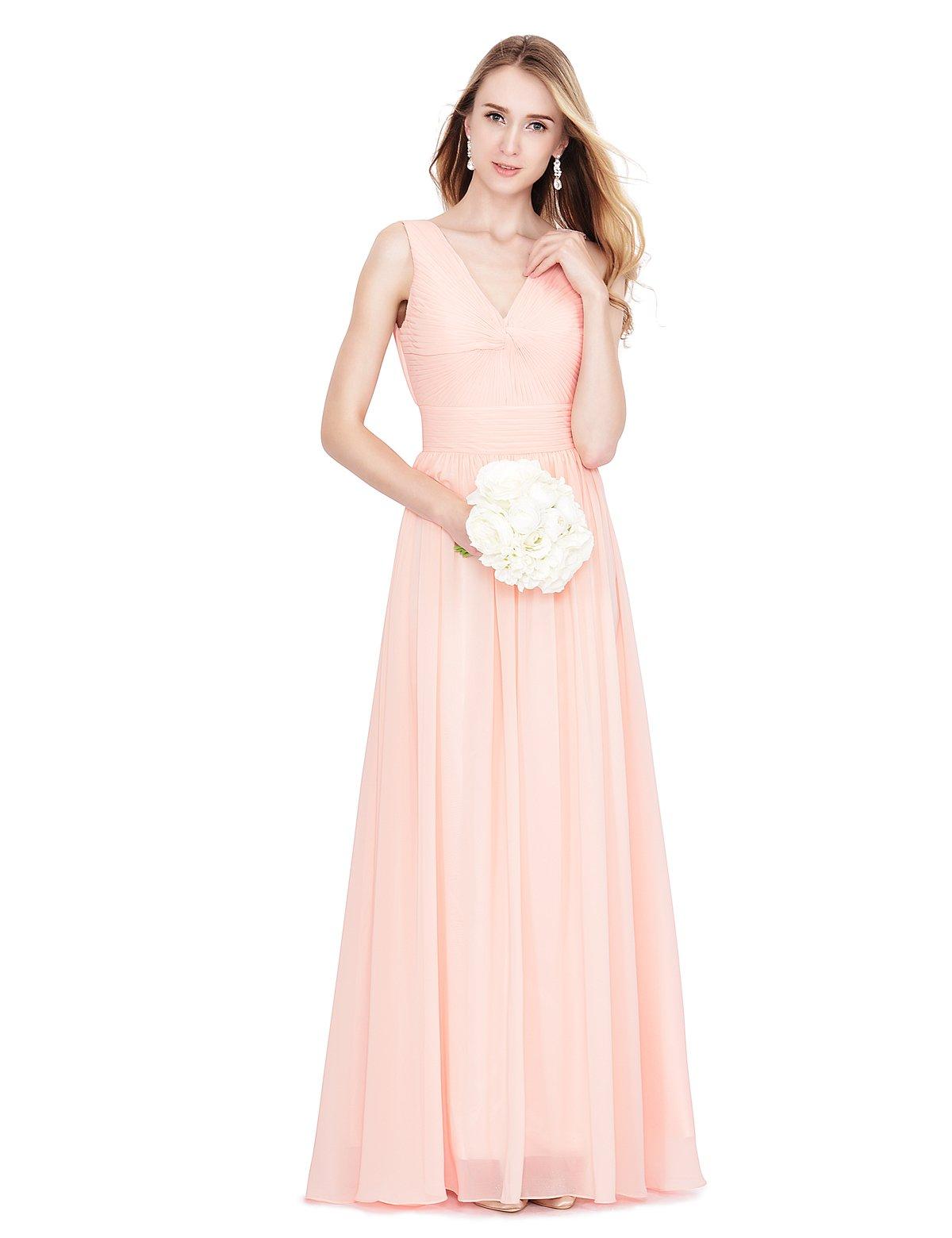 Remedios Sleeveless V Neck Chiffon Wedding Party Long Bridesmaid Dress,Pearl Pink,US8