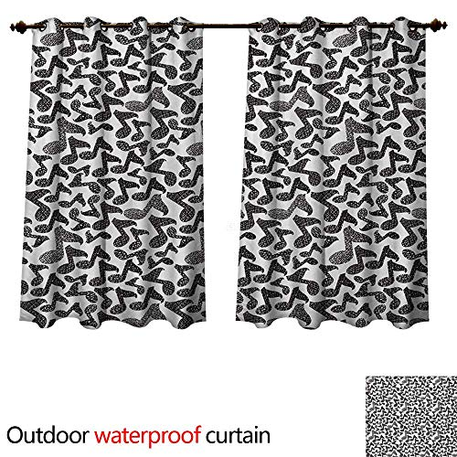 WilliamsDecor Modern Outdoor Balcony Privacy Curtain Music Notes in Sketch Style Doodle Murky Distressed Hand Drawn Lines Artful Image W96 x L72(245cm x 183cm)