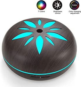 Sealive 550ml Fragrance Essential Oil Diffuser for Aromatherapy with Adjustable Mist Modes Humidifiers, Ultrasonic Aroma Diffusers with Auto Shut-Off, 7 Colorful LED Lights (Black)