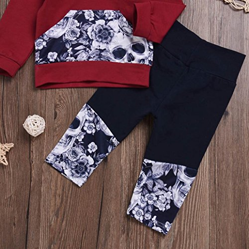Nevera 2Pcs Toddler Girls Boys Flower Skull Bone Hooded Tops+Pants Outfits Set (Wine, 6M) by Nevera (Image #5)