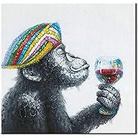 Dipinta a Mano Acrilica Pittura ad Olio Moderni Astratto Animale Tela Gorilla Bere Quadri Parete Decorativi Casa
