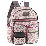 Personalized Disney Minnie Mouse Mandala Print Multi-Pocket Functional Baby Backpack Book Bag Diaper Bag Gift Set - 4 Piece Set