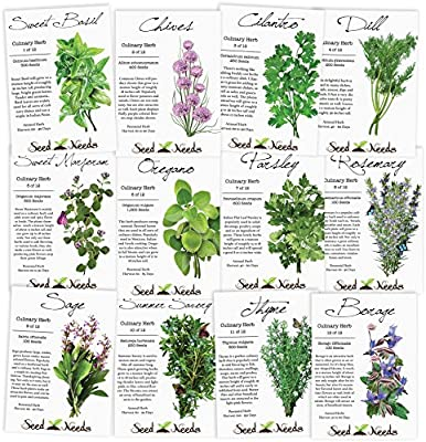 Culinary Herb Assortment, 12 Individual Packages of Seed (Sage, Basil, Chives, Cilantro & More) Non-GMO Seeds by Seed Needs