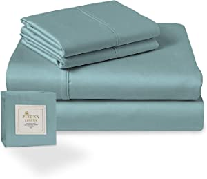 Pizuna 400 Thread Count Cotton Full Sheets Set Stone Blue, 100% Long Staple Cotton Smooth Sateen Bed Sheets fits Upto 15 inch Deep Pocket (100% Cotton Stone Blue Full Sheet Sets)