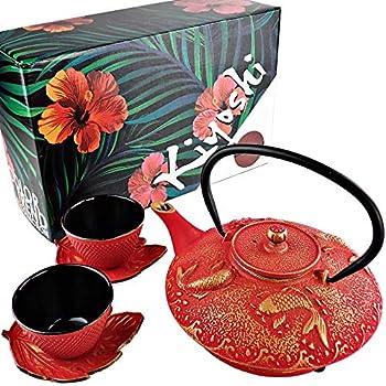 Amazon.com: KIYOSHI Juego de té japonés de hierro de lujo 7 ...