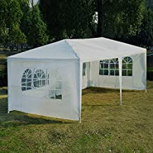 Outsunny 10' x 20' Wedding Party Tent Outdoor Event Camping Gazebo Canopy with 4 Removable Sidewalls (White)