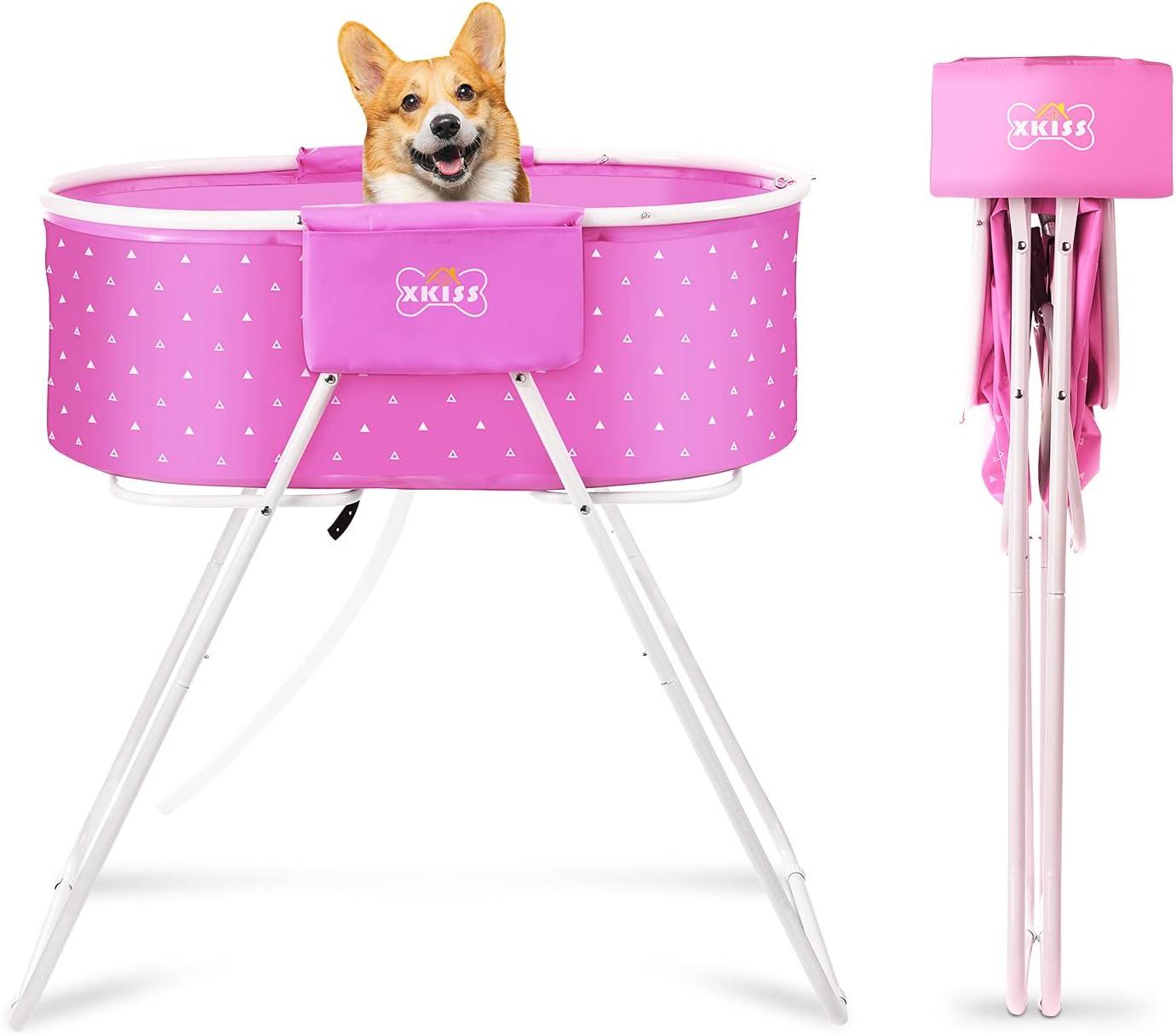bañera plegable para gatos y perros de color rosa xkiss