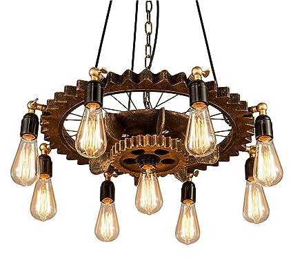 ☞ Bronze Couleur Rétro Style Industriel Bois Fer Suspension