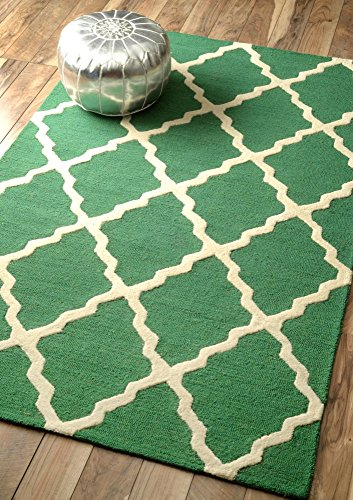nuLOOM Varanas Collection Marrakech Trellis Contemporary Transitional Hand Made Area Rug, 7 Feet 6 Inches by 9 Feet 6 Inches, Emerald