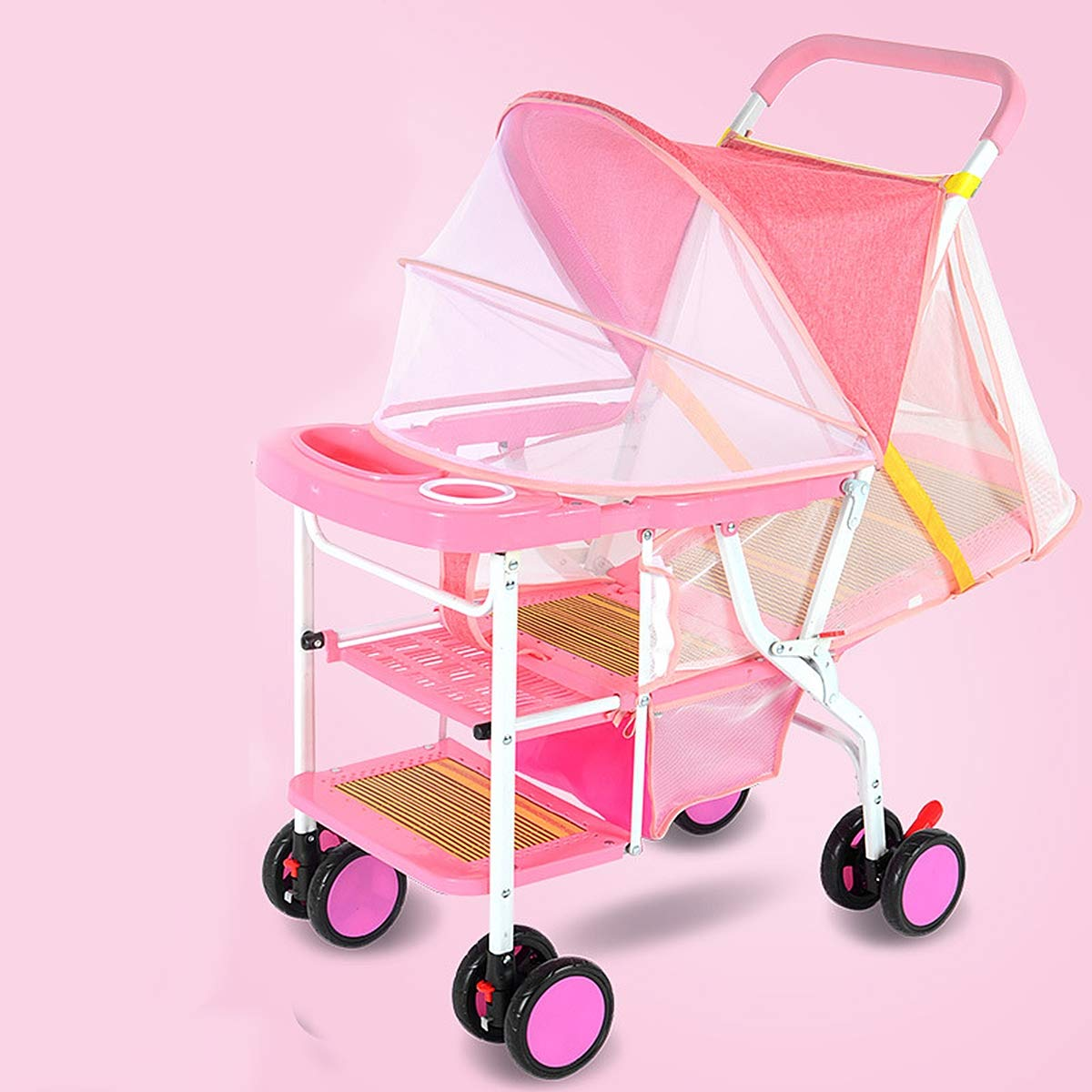 Eustoma Bamboo Baby Stroller Foldable, Light Portable Baby Carriage Retractable Pedal Integrated Mosquito Net Adjustable Shade Cloth,Pink by Eustoma (Image #1)