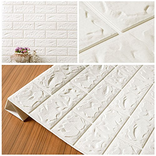 3D Brick Wall Stickers, FOME PE Foam 3D Brick Wall Tile Easy Self-Adhesive Design Wall Paper Wall Tile Stickers 3D Decorative Soft Panels for Kitchen/Bathroom/Living Room/Bedroom Decor 30.3x27.6 inch by FOME (Image #8)
