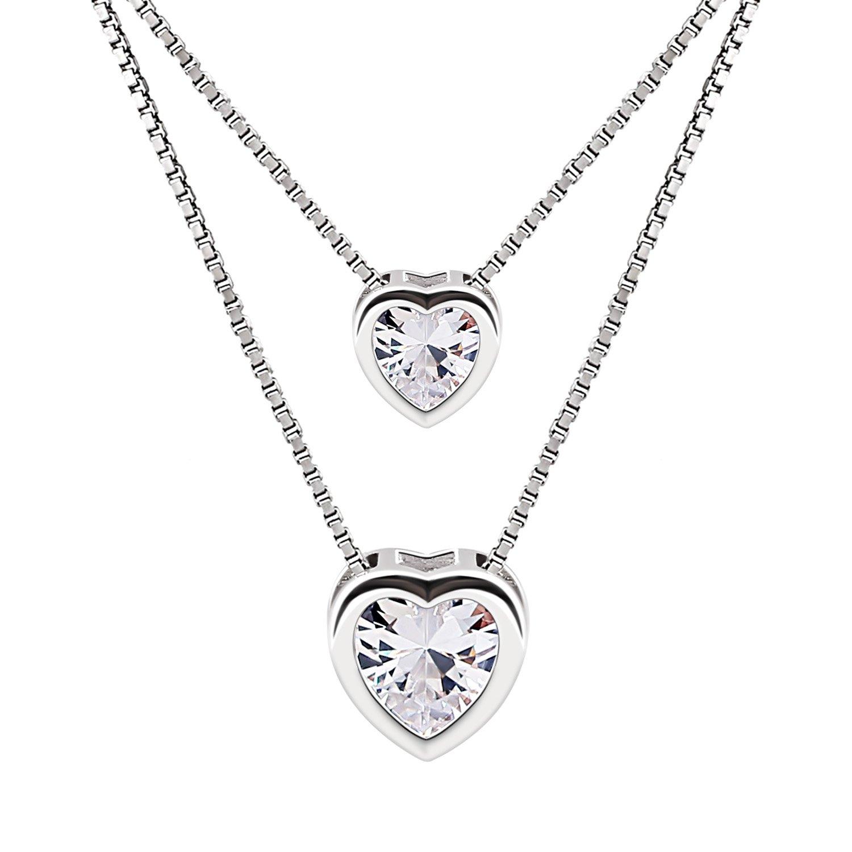 8910f8c4d423 B.Catcher Mujer Collar Colgante Plata de Ley 925 con Doble corazón con Para  Regalo
