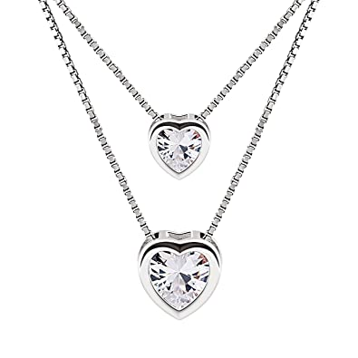 B.Catcher 925 Sterling Silver Cubic Zirconia Double Layer Heart Bead Chains Necklace QChtBo