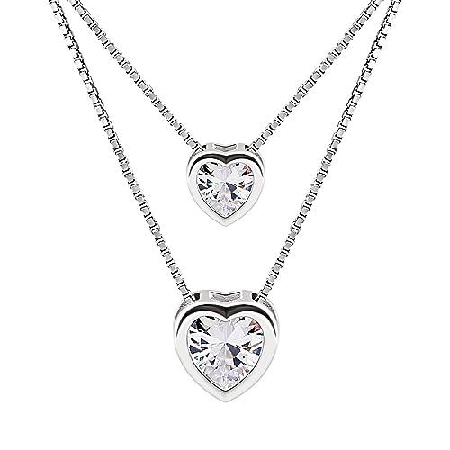 ede09879a4fe B.Catcher Mujer Collar Colgante Plata de Ley 925 con Doble corazón con Para  Regalo San Valentín Originales  Amazon.es  Joyería