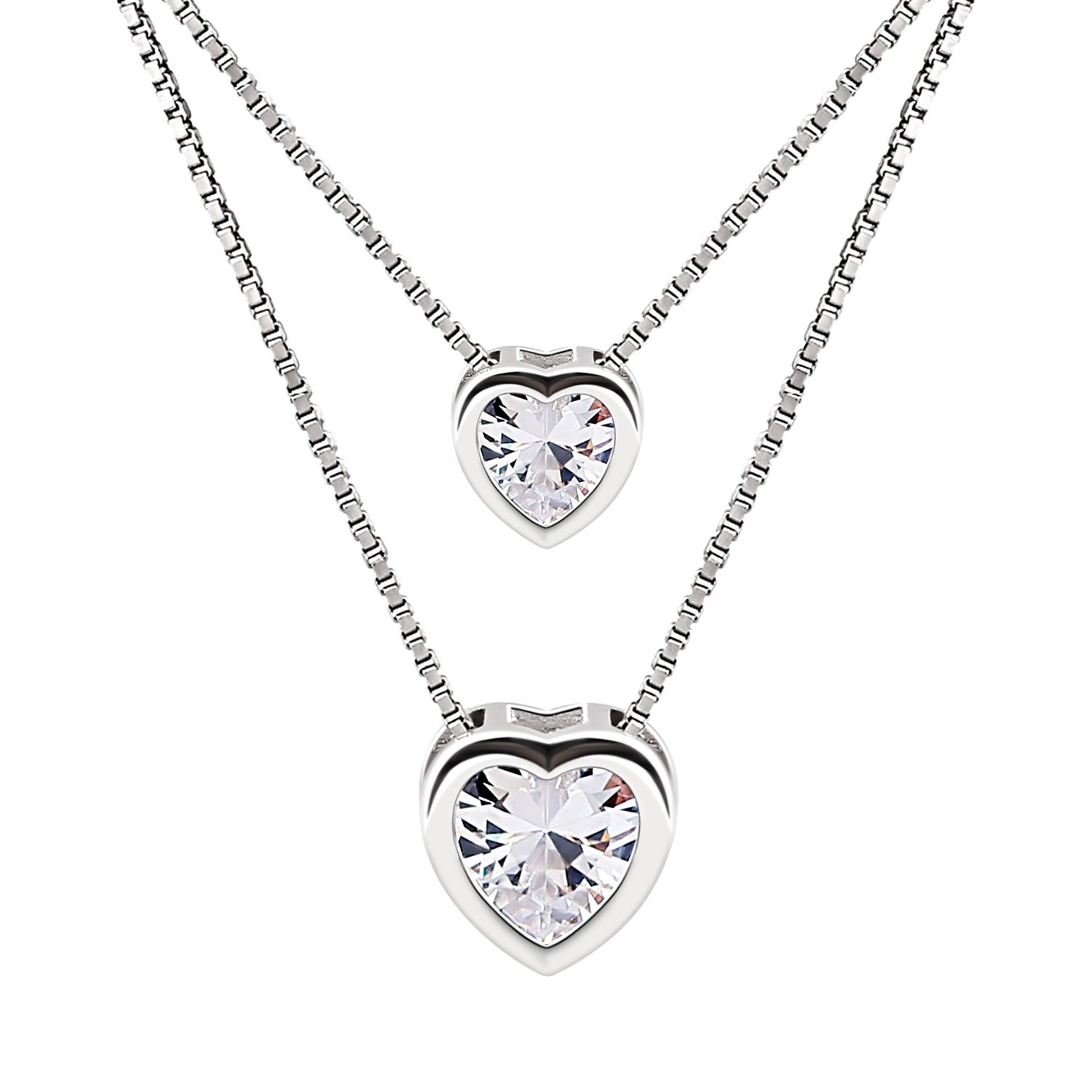 B.Catcher Pendant Necklace Jewelry for Women 925 Sterling Silver Cubic Zirconia Double Heart Layer Bead with 45cm chain