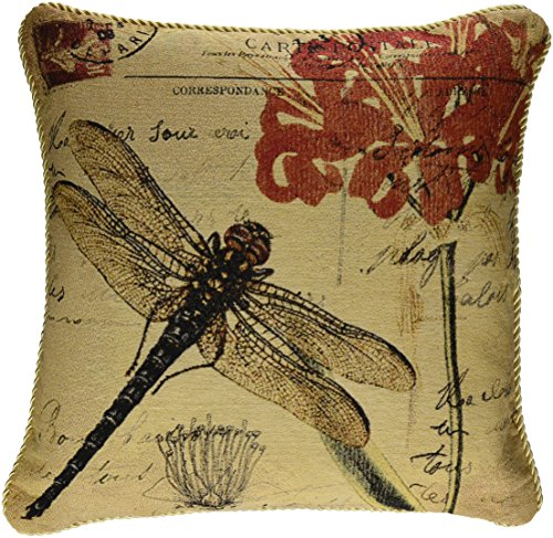 DaDa Bedding DP-15041 Dragonfly Dream Woven Decorative Pillow, (Dragonflies Bedding Collection)