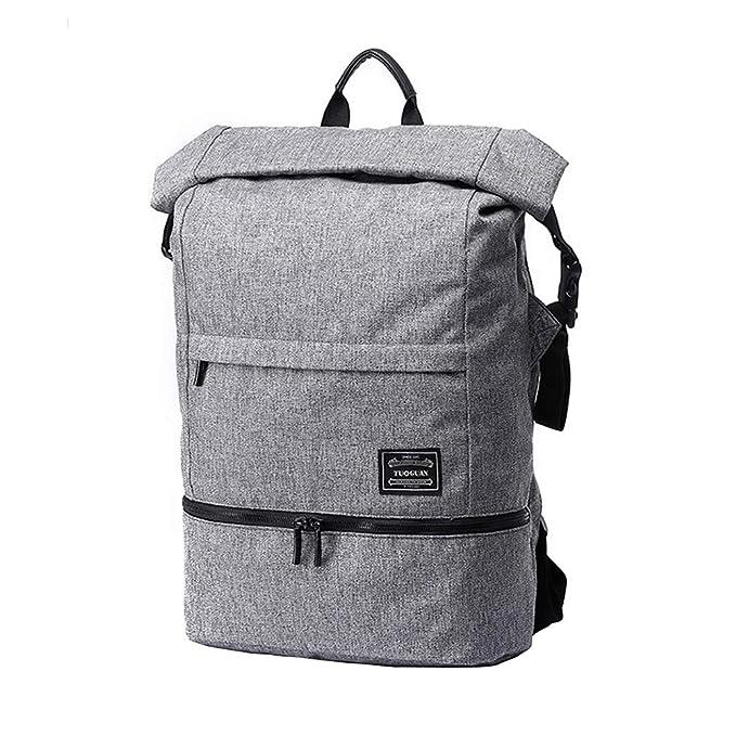 Zhhlinyuan Roll Top Mochila Causal Daypacks - Lona Bolsa De Viaje Lmpermeable Weekend Bag Negocio Fin