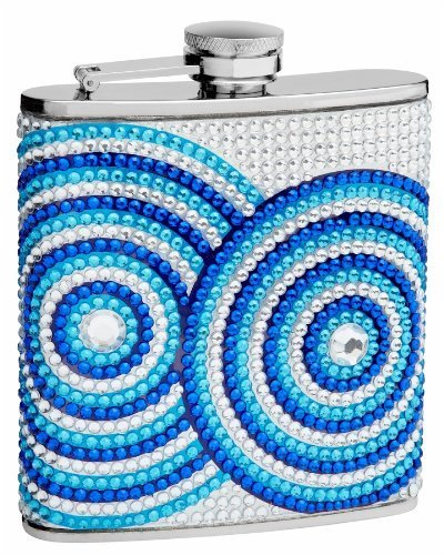 Top Shelf Flasks 6 oz. Circle Pattern Rhinestone, Crystal Beads Hip - Pattern Shelf