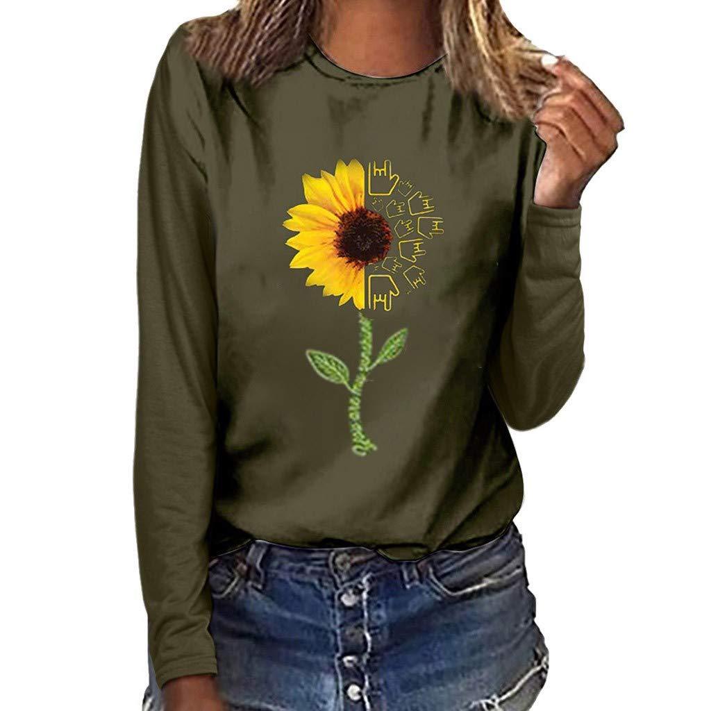 waitFOR Women Plus Size Jumper Tops,Ladies Long Sleeve Round Neck Letter//Sunflower Pattern Print Pullover Blouse Sweatshirt Autumn Winter Sweater,Fashion Women Tshirt Tee Beachwear Jumper Crop Tops