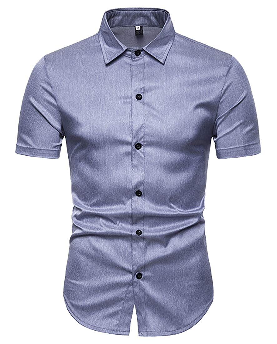 Alion Mens Fashion Short Sleeve Casual Slim Fit Button Down Shirt