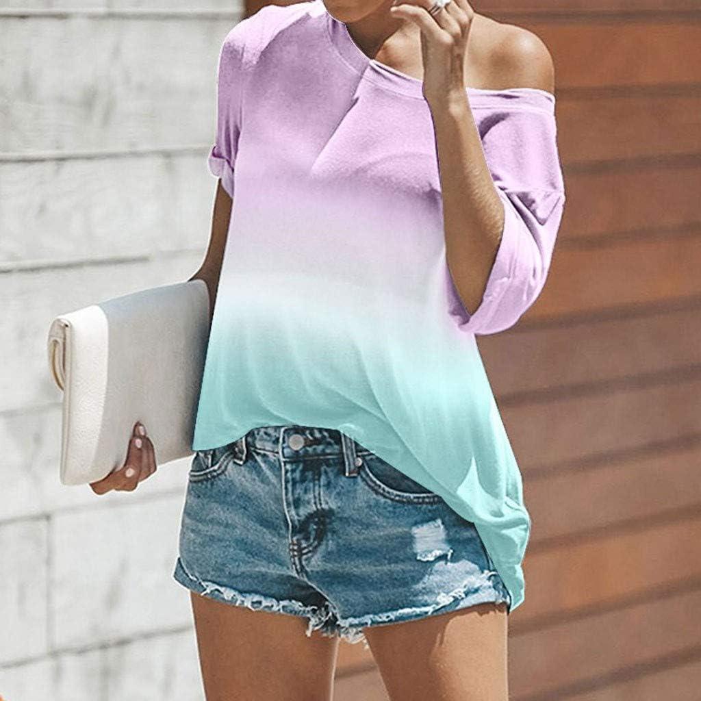 Pumsun Tops Women Short Sleeve T-Shirt Gradient Tie-Dye Blouse Ladies Tee Shirt Tops