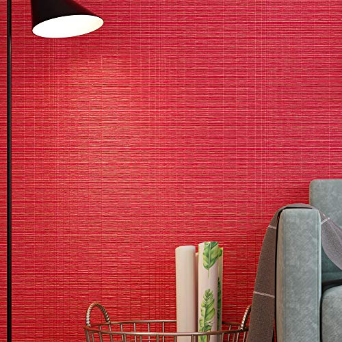 (6505 Faux Grasscloth Weave Texture Wallpaper,Red Bedroom Living Room Cafe Wall Decoration Wall Paper 20.8in×32.8ft)