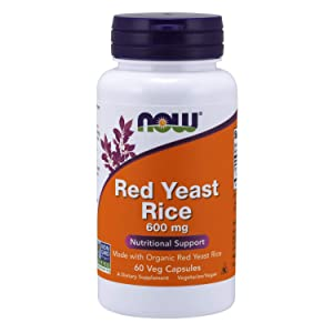 NOW Supplements, Red Yeast Rice 600 mg, Made with Organic Red Yeast Rice, 60 Veg Capsules