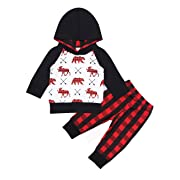 Yiner Baby Boy Clothes Bear Deer Printed Long Sleeve Hoodie Tops +Red Plaid Pants Outfit Set (6-12Months)