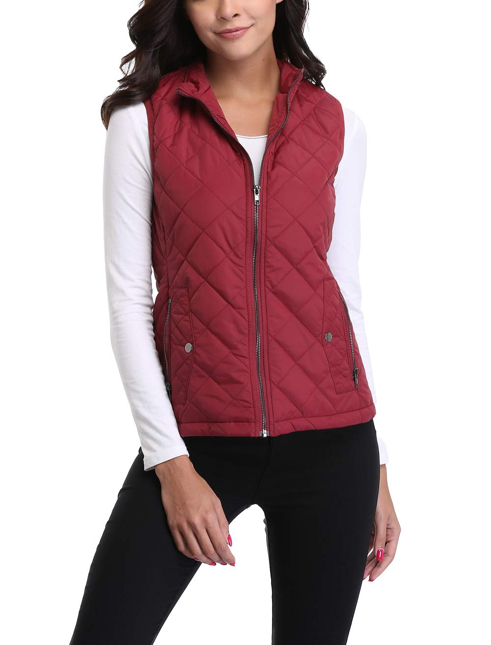 MISS MOLY Women's Zip up Stand Collar Lightweight Quilted Gilets Packable Padded Vest w 2 Side Zip Pockets S